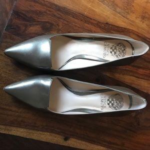 Bronze patent leather shoes